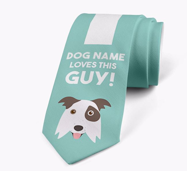 'Your Dog loves this guy!' Neck Tie with Border Collie Icon