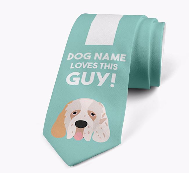'Your Dog loves this guy!' Neck Tie with Clumber Spaniel Icon
