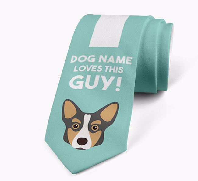 'Your Dog loves this guy!' Neck Tie with Corgi Icon
