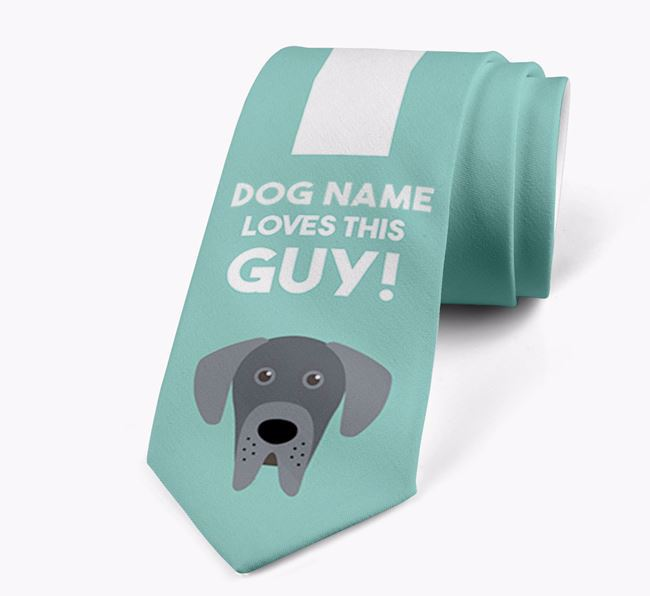 'Your Dog loves this guy!' Neck Tie with Great Dane Icon