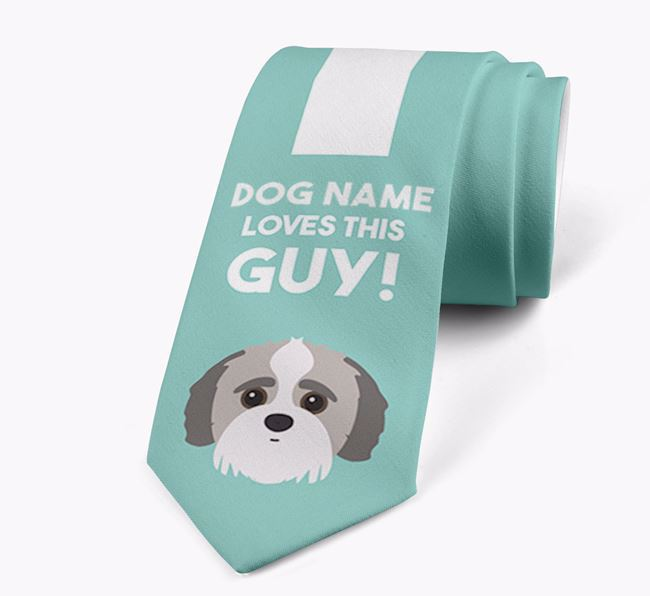 'Your Dog loves this guy!' Neck Tie with Jack-A-Poo Icon