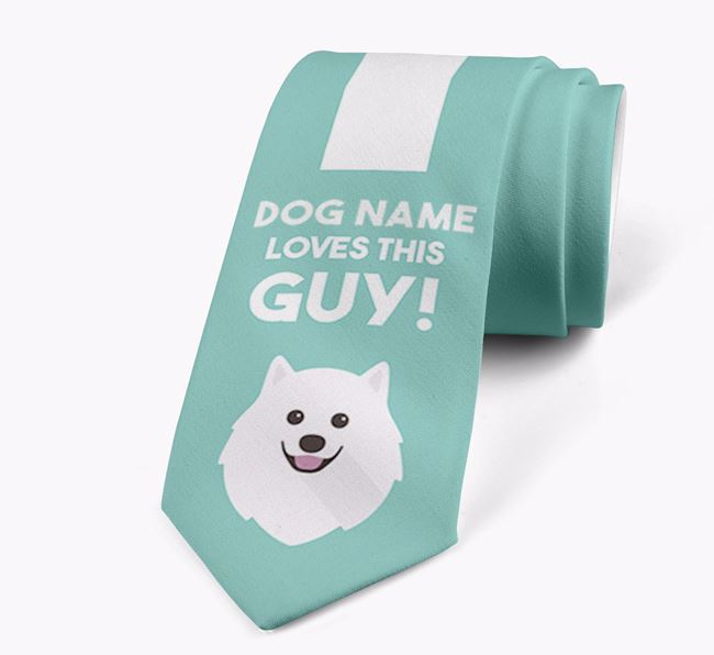 'Your Dog loves this guy!' Neck Tie with Japanese Spitz Icon