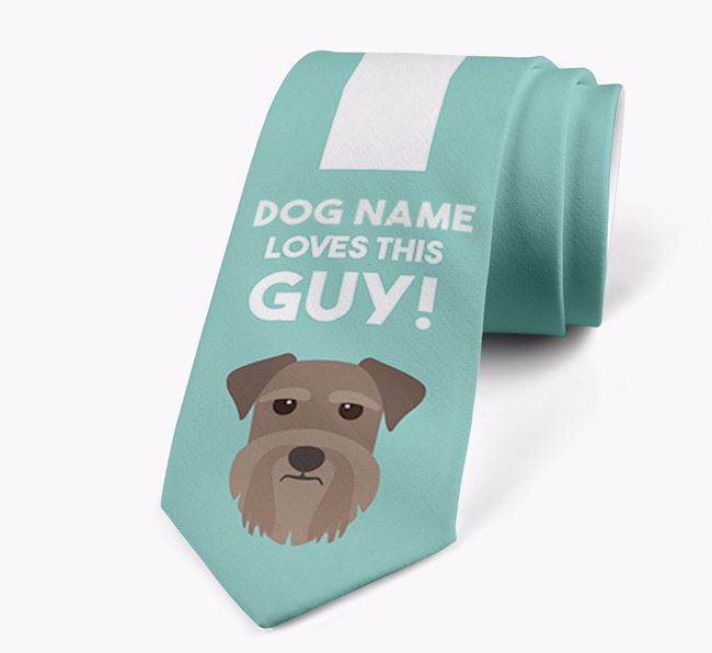 'Your Dog loves this guy!' Neck Tie with Miniature Schnauzer Icon