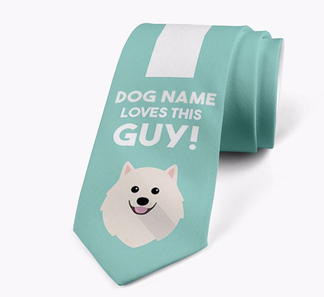 'Your Dog loves this guy!' Neck Tie with Pomeranian Icon