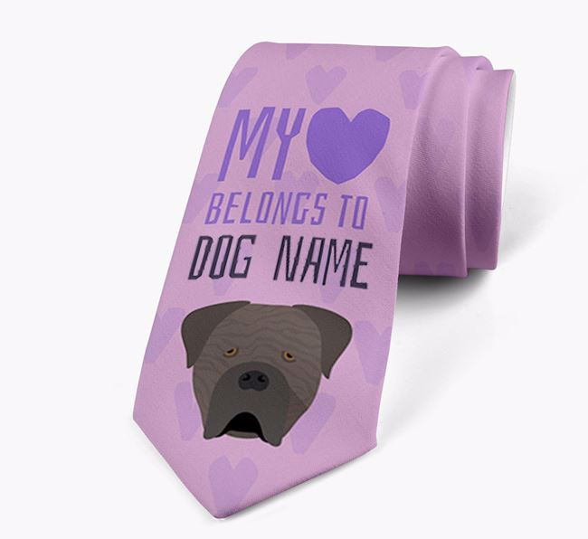 'My heart belongs to Your Dog' Neck Tie with Cane Corso Italiano Icon