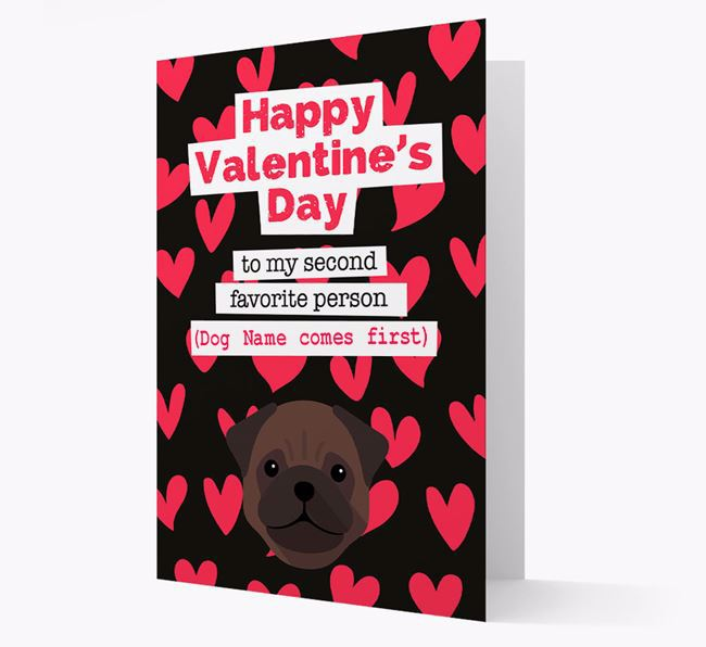 'To my Second Favourite Person' Card with your Pug Icon