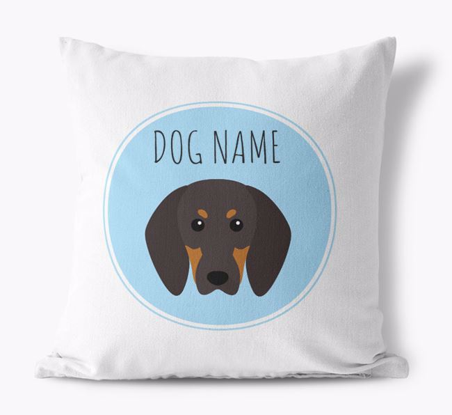 Black and Tan Coonhound Yappicon Canvas Cushion