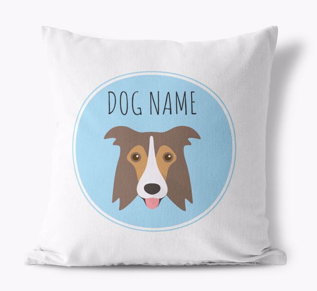 Border Collie Yappicon Canvas Cushion