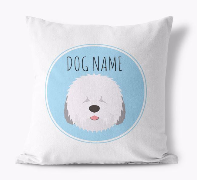 Old English Sheepdog Yappicon Canvas Cushion
