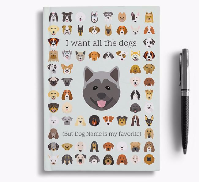 Akita 'I Want All The Dogs' Personalized Notebook
