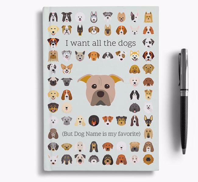 American Pit Bull Terrier 'I Want All The Dogs' Personalized Notebook