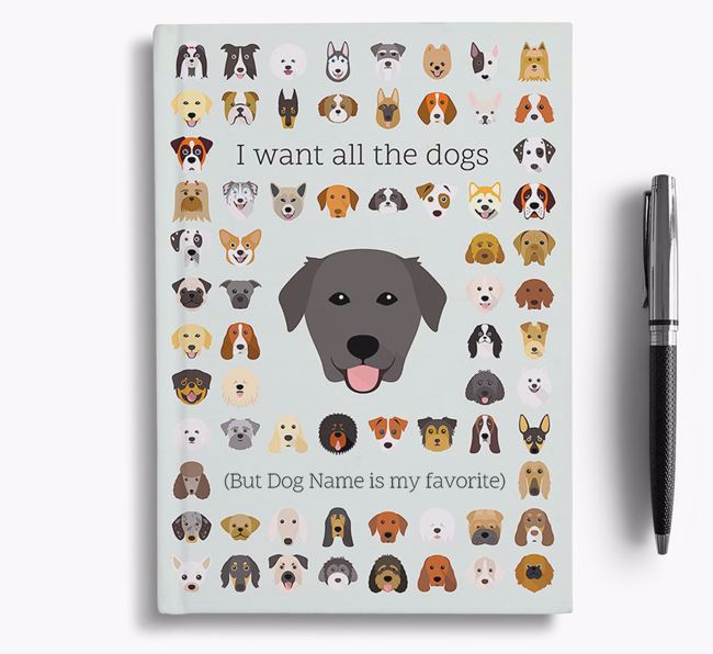 Golden Labrador 'I Want All The Dogs' Personalized Notebook