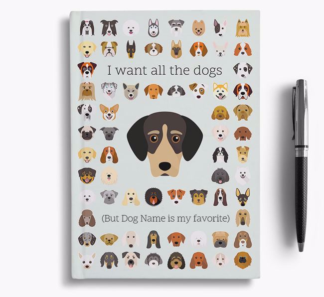 Greek Harehound 'I Want All The Dogs' Personalized Notebook