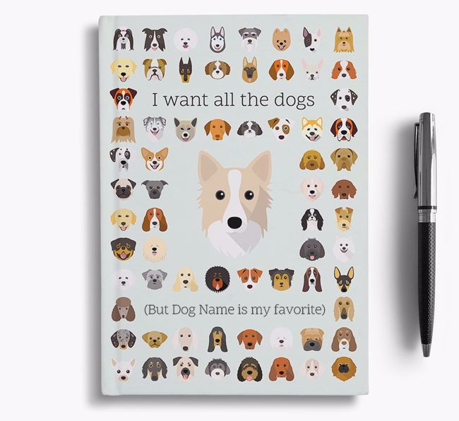 Icelandic Sheepdog 'I Want All The Dogs' Personalized Notebook