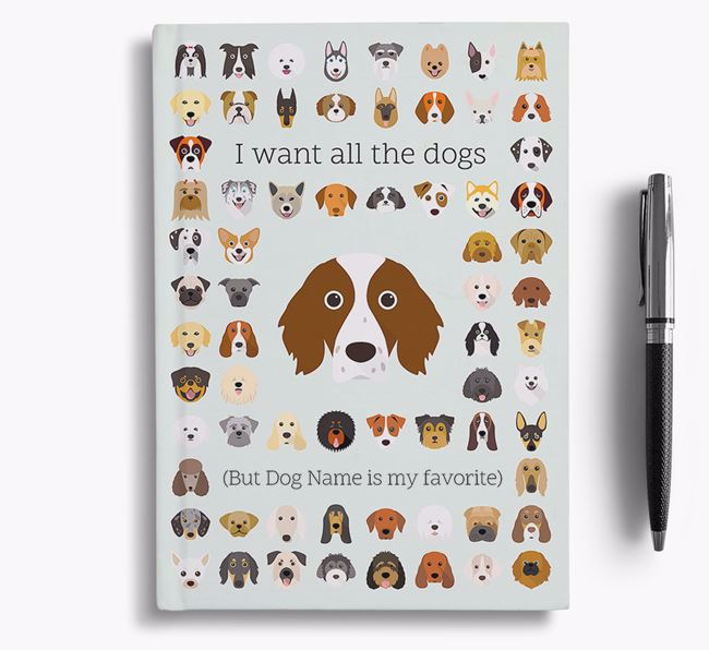 Irish Red & White Setter 'I Want All The Dogs' Personalized Notebook