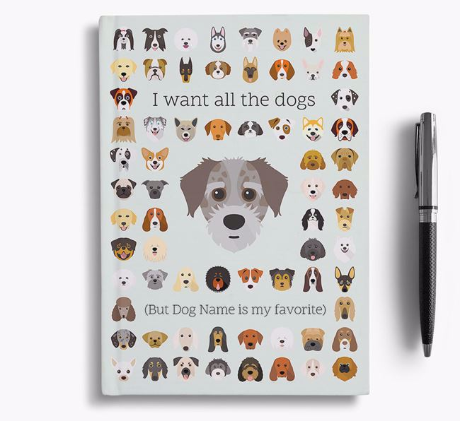 Jacktzu 'I Want All The Dogs' Personalized Notebook