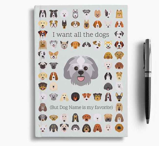 Lachon 'I Want All The Dogs' Personalized Notebook