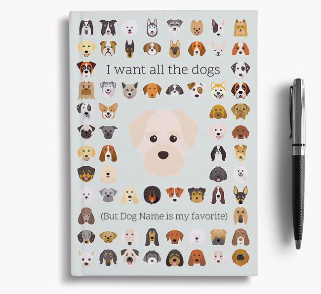 Maltichon 'I Want All The Dogs' Personalized Notebook