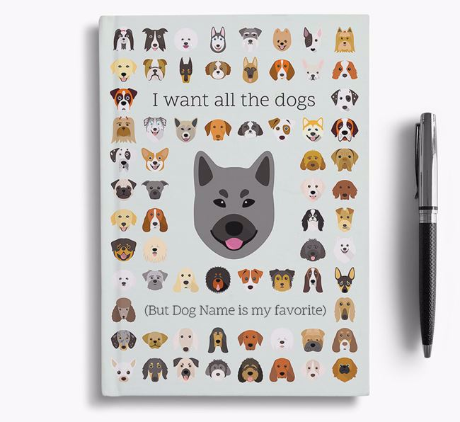 Norwegian Elkhound 'I Want All The Dogs' Personalized Notebook