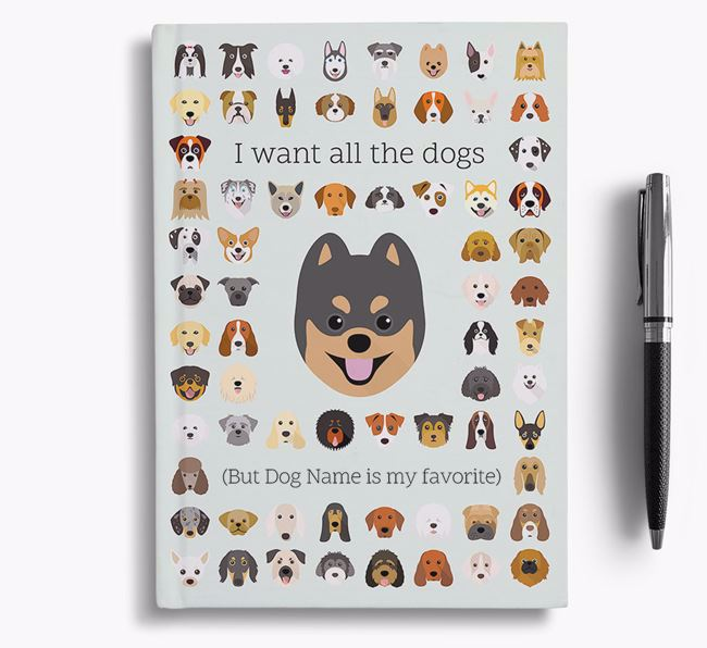 Pomsky 'I Want All The Dogs' Personalized Notebook