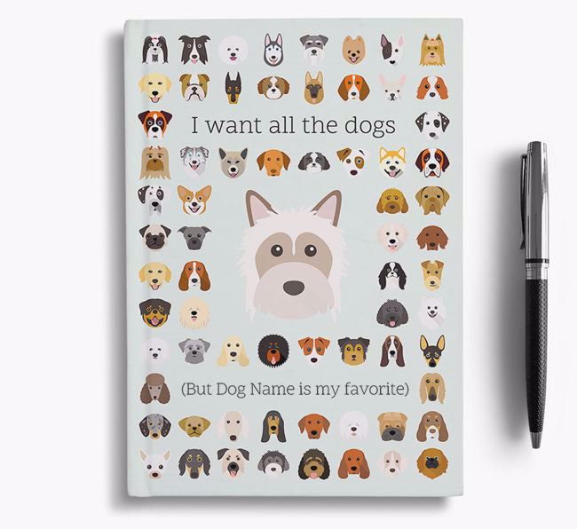 Powderpuff Chinese Crested 'I Want All The Dogs' Personalized Notebook