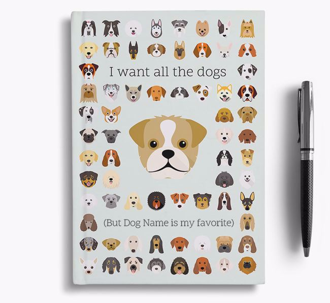 Pugapoo 'I Want All The Dogs' Personalized Notebook