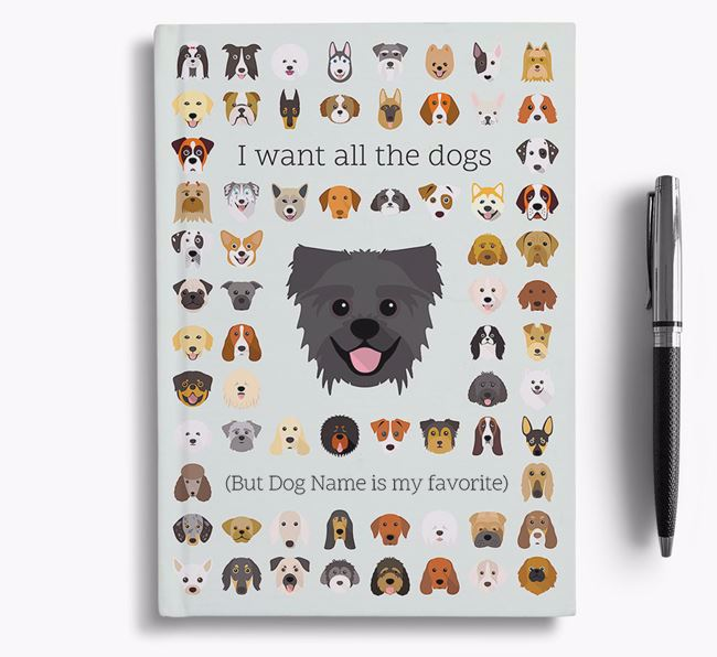 Pugzu 'I Want All The Dogs' Personalized Notebook