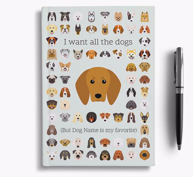 Redbone Coonhound 'I Want All The Dogs' Personalized Notebook