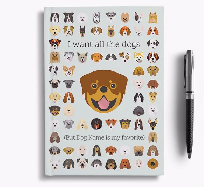 Rottweiler 'I Want All The Dogs' Personalized Notebook