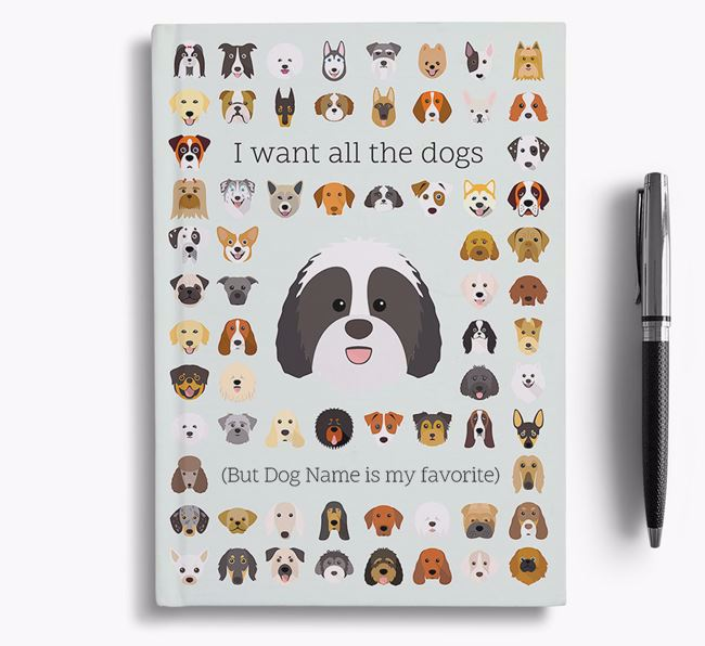 Sheepadoodle 'I Want All The Dogs' Personalized Notebook