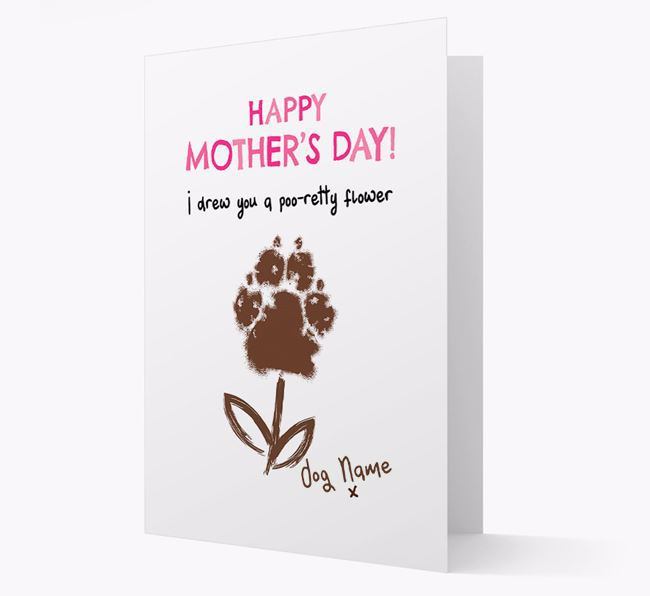 Personalized 'I drew you a Poo-retty Flower' Card