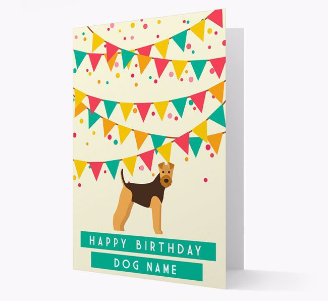 'Happy Birthday' Card with Airedale Terrier Icon