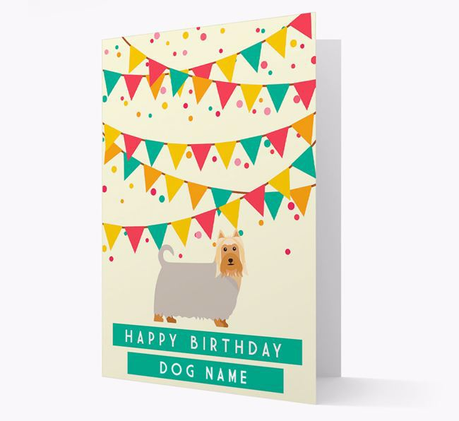 'Happy Birthday' Card with Australian Silky Terrier Icon