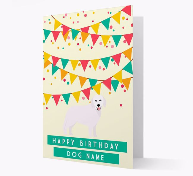 'Happy Birthday' Card with Hungarian Kuvasz Icon