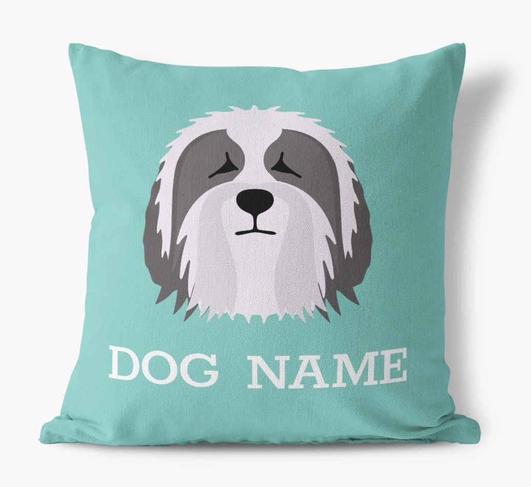 {colour} Bearded Collie Icon Canvas Pillow front view