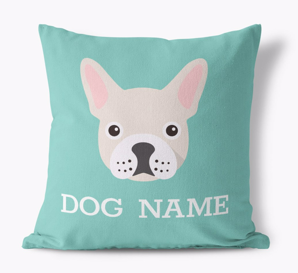 {colour} French Bulldog Icon Canvas Cushion front view
