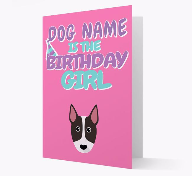 'Birthday Girl' Card with Bull Terrier Icon