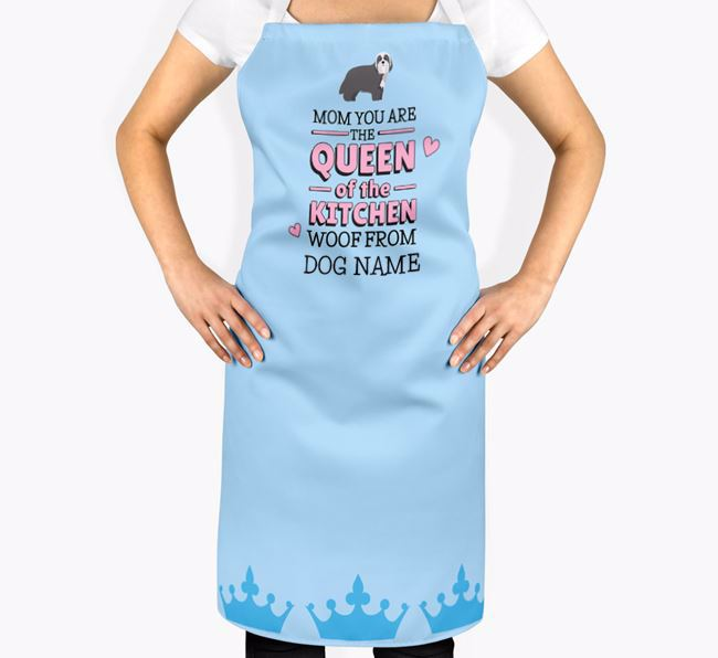 Personalized 'Queen of the Kitchen' Apron with Bearded Collie Icon