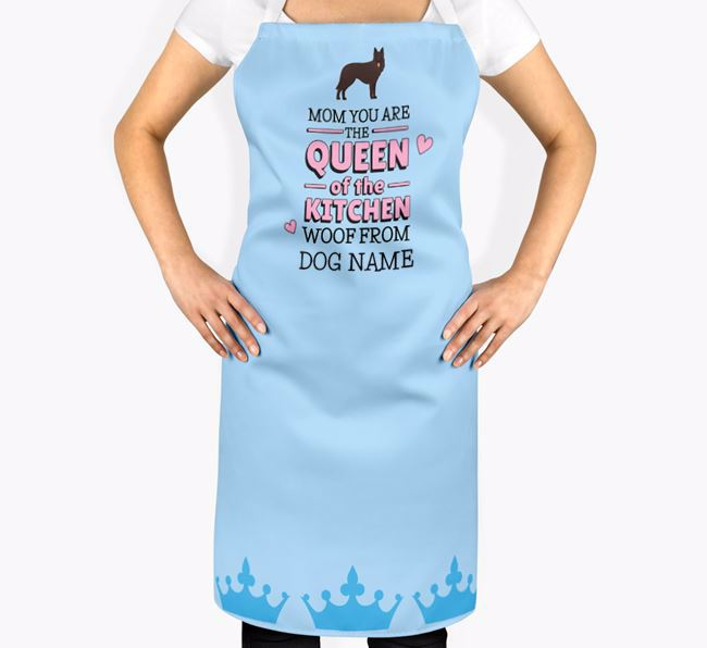 Personalized 'Queen of the Kitchen' Apron with Belgian Groenendael Icon