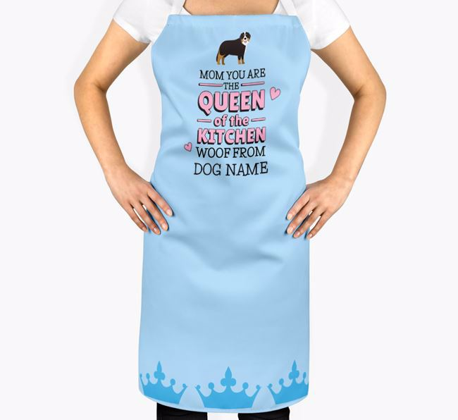 Personalized 'Queen of the Kitchen' Apron with Bernese Mountain Dog Icon