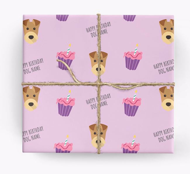 Personalised 'Happy Birthday' Cupcake Wrapping Paper with Airedale Terrier Icons