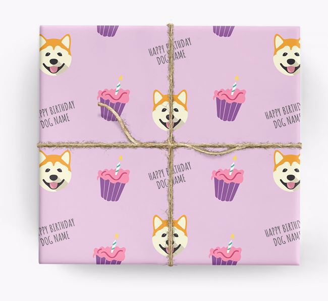 Personalized 'Happy Birthday' Cupcake Wrapping Paper with Akita Icons
