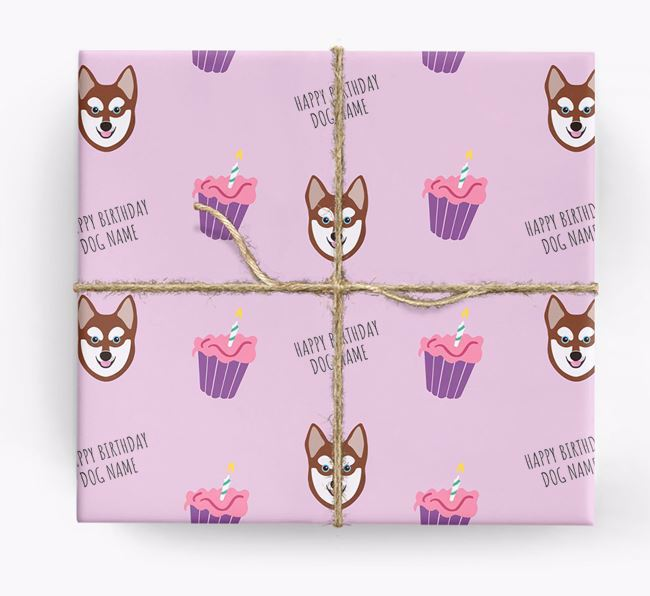 Personalized 'Happy Birthday' Cupcake Wrapping Paper with Alaskan Klee Kai Icons