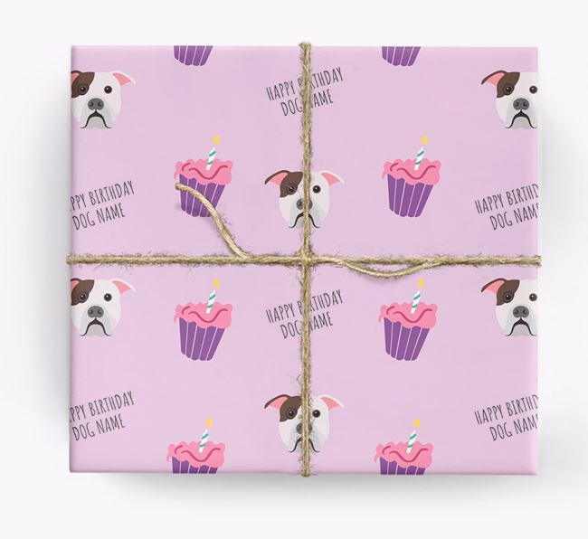 Personalized 'Happy Birthday' Cupcake Wrapping Paper with American Bulldog Icons