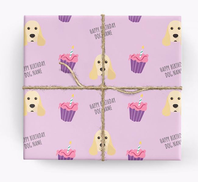 Personalised 'Happy Birthday' Cupcake Wrapping Paper with American Cocker Spaniel Icons