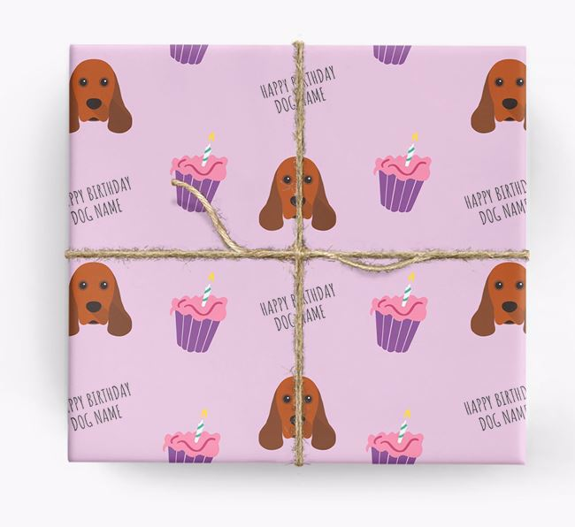 Personalized 'Happy Birthday' Cupcake Wrapping Paper with American Cocker Spaniel Icons