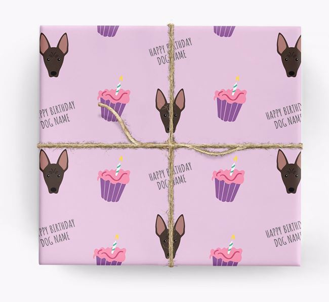 Personalized 'Happy Birthday' Cupcake Wrapping Paper with American Hairless Terrier Icons