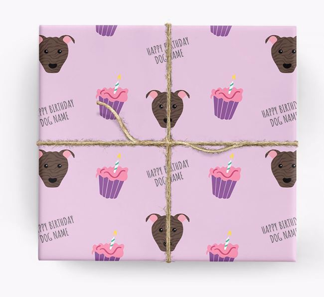Personalized 'Happy Birthday' Cupcake Wrapping Paper with American Pit Bull Terrier Icons