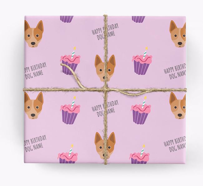 Personalized 'Happy Birthday' Cupcake Wrapping Paper with Australian Cattle Dog Icons