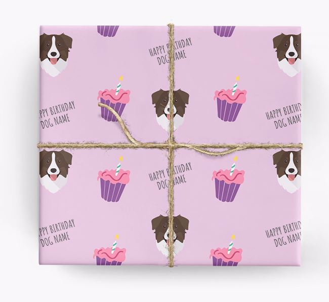 Personalized 'Happy Birthday' Cupcake Wrapping Paper with Australian Shepherd Icons